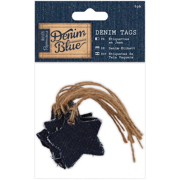 Papermania Denim Blue Tags 6/Pkg-Star