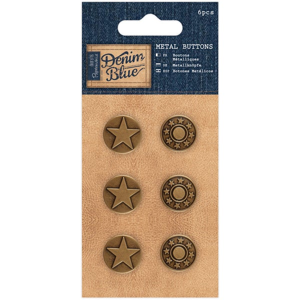 Papermania Denim Blue Metal Buttons 6/Pkg