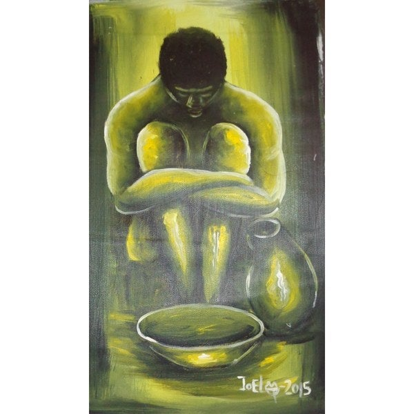 No Food For a Lazy Man Painting (Ghana)