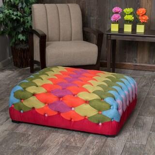 Christopher Knight Home Rainbow Tufted Fabric Ottoman