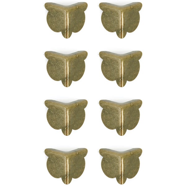 "Treasures Metal Corners .75"" 8/Pkg-Antique Brass"