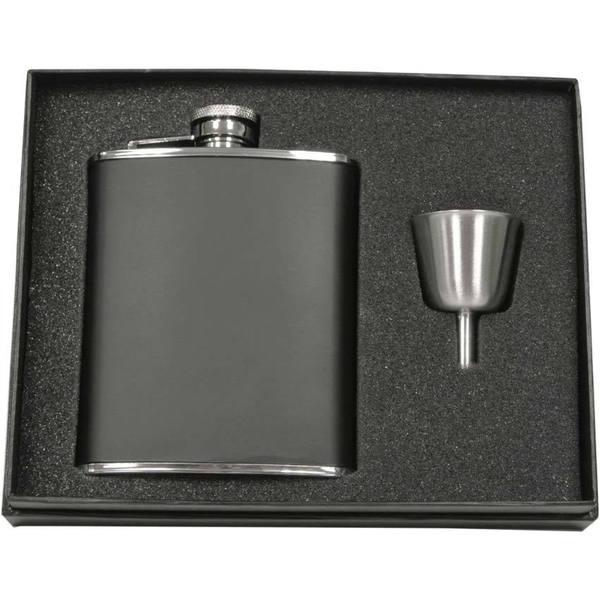 Visol Marcel Black Matte Legacy Flask Gift Set - 6 ounces