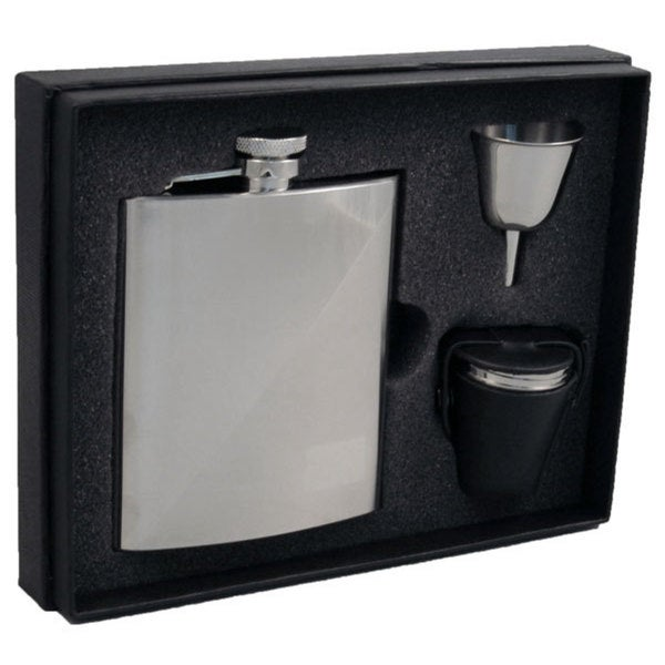 Visol Duo Two-Tone Stainless Steel Deluxe Flask Gift Set - 8 ounces