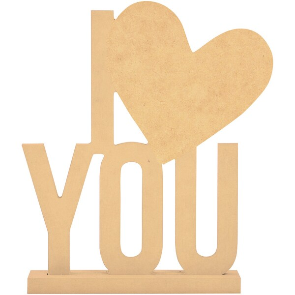 Beyond The Page MDF I (Heart) You Phrase-8.5inX6.25in, W/1.5in Base