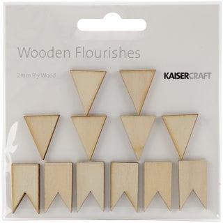 Wood Flourishes 12/Pkg-Pennants