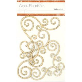 Wood Flourishes 4/Pkg-Swirls
