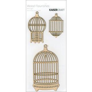 Wood Flourishes 3/Pkg-Bird Cages