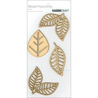 Wood Flourishes 4/Pkg-Leaves