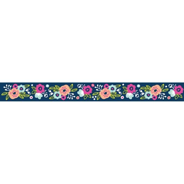 """Grosgrain Printed Ribbon 1.5""""X3yd-Navy Floral"""