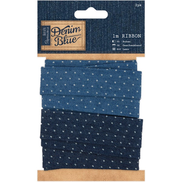 Papermania Denim Blue Ribbon 1m 2/Pkg-Denim Spot