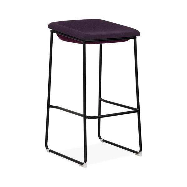 Modello Black Modern Barstool with Dark Purple Fabric Padded Seat