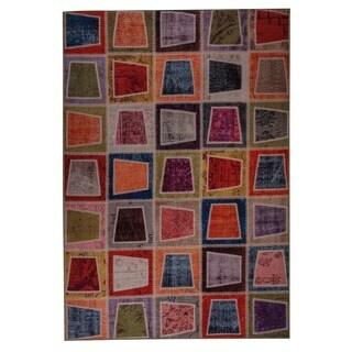 Hand Printed Burs Multi Vintage Print Rug (India)