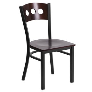 HERCULES Series Black Decorative 3 Circle Back Metal Restaurant Chair - Walnut Wood Back & Seat