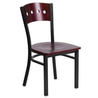 HERCULES Series Black Decorative 4 Square Back Metal Restaurant Chair - Mahogany Wood Back & Seat