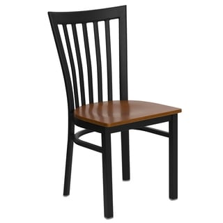 HERCULES Series School House Back Metal Restaurant Chair - Wood Seat