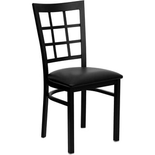 HERCULES Series Window Back Metal Restaurant Chair - Vinyl Seat
