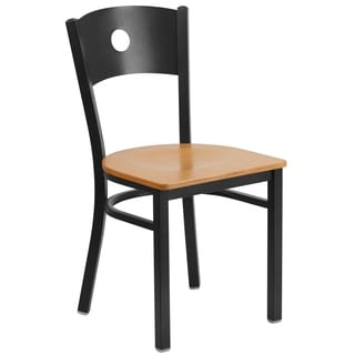 HERCULES Series Circle Back Metal Restaurant Chair - Wood Seat