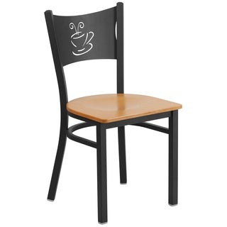 HERCULES Series Coffee Back Metal Restaurant Chair - Wood Seat