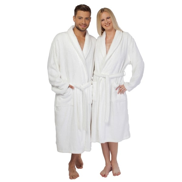 Authentic Hotel Spa Unisex White Turkish Cotton Terry Cloth Bath Robe (As Is Item)