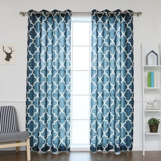 Aurora Home Moroccan Print Flax Linen Blend Grommet Top Curtain Panel (Set of 2)