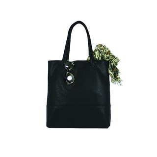 Goodhope Black Pleather Fashion Shopping Tote