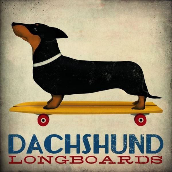 Ryan Fowler 'Dachshund Longboards' Gallery Wrapped Canvas