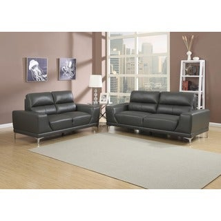 Elena Grey 2-piece Contemporary Sofa and Loveseat Set