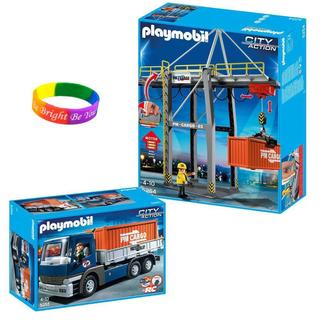 Playmobil Cargo Transportation Cargo Truck with Container/ Loading Terminal/ Dimple Bracelet