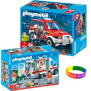 Playmobil Fire Ambulance Set/ Rescue Set Fire Chief Car with Dimple Bracelet