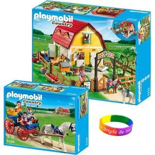 Playmobil Children's Pony Farm and Horse-drawn Carriage with Dimple Bracelet