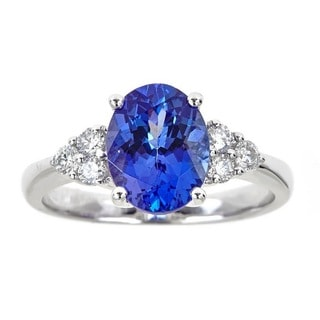 Anika and August 18k White Gold 1/4ct TDW Diamond and 2 3/5ct Oval-cut Tanzanite Ring