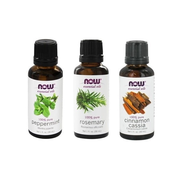 Now Foods Essential Oils Energizing 3-piece Set (Peppermint, Rosemary, Cinnamon Casia)