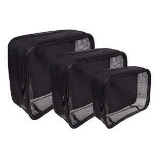 SHANY 3-piece Black Mesh Organizer Cosmetics Travel Bag Set
