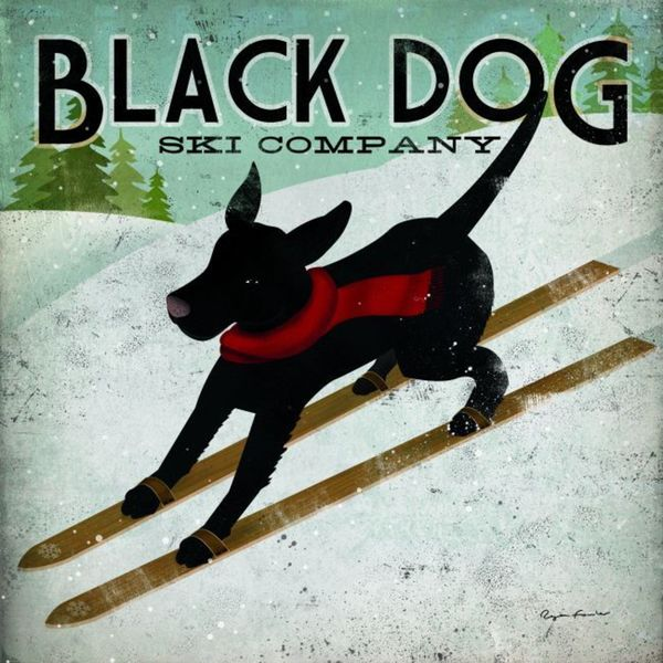 Ryan Fowler 'Black Dog Ski' Gallery Wrapped Canvas