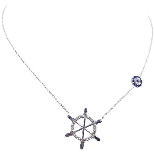 Evil Eye Sterling Silver Boatwheel Necklace