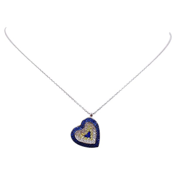 Evil Eye Sterling Silver Heart Necklace