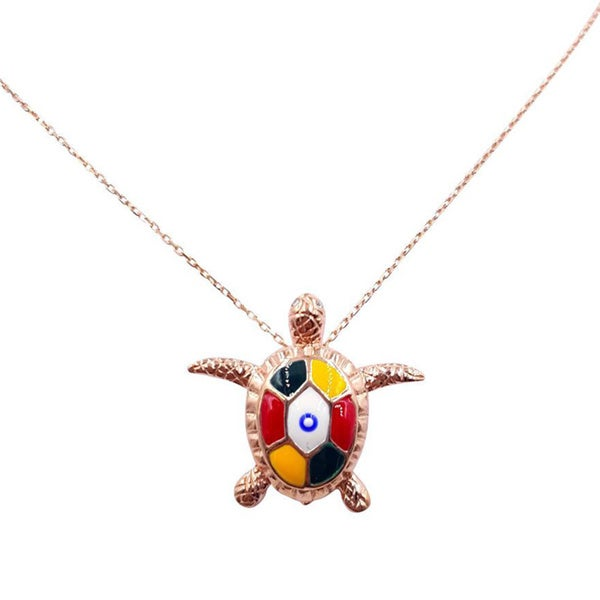 14k Rose Gold over Sterling Silver Evil Eye Turtle Necklace