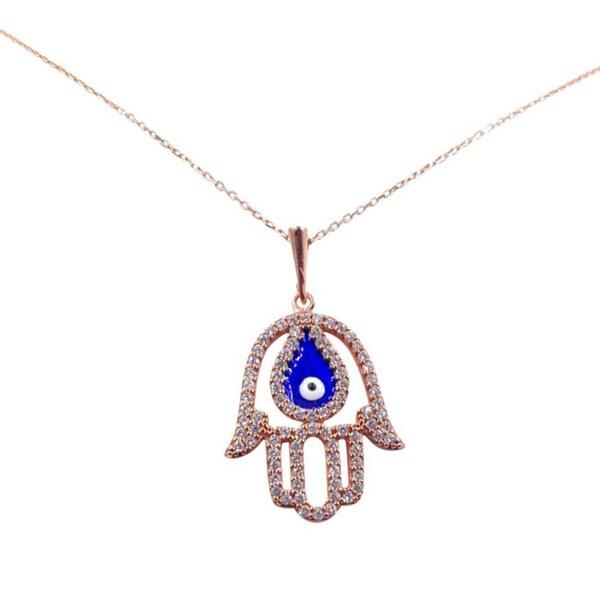 14k Rose Gold over Sterling Silver Hamsa with Evil Eye Necklace