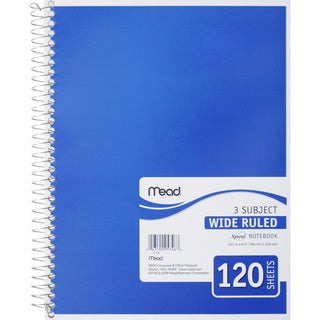 Spiral 120SHT 3 Subject 10.5 x 8-inch Notebook (Pack of 10)