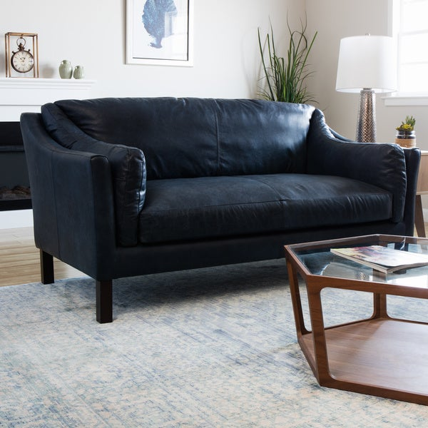Reginald Oxford Blue Leather Sofa
