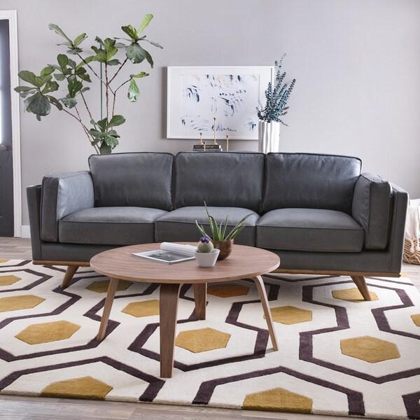 Astoria Grey Oxford Leather Sofa 17886046 Overstock