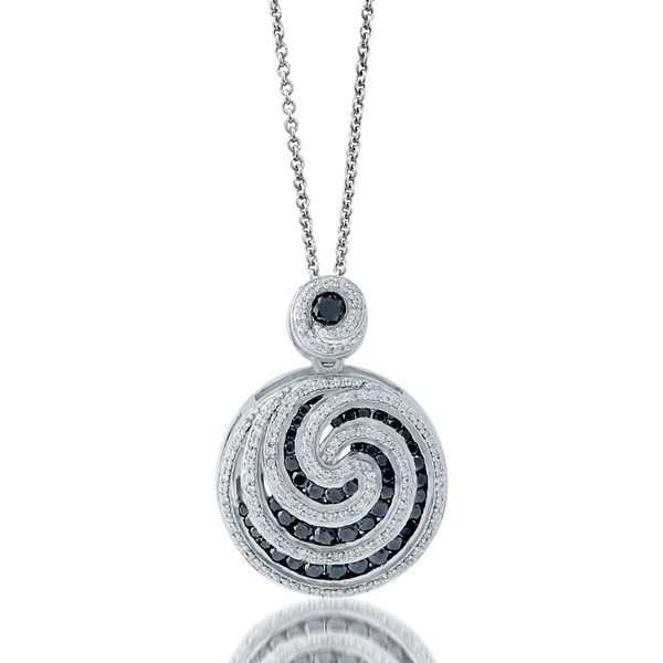 Platinum Over Silver Black & White Diamond Spiral Pendant