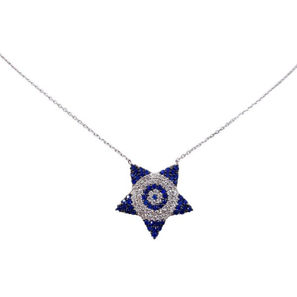 Evil Eye Sterling Silver Star Of David Necklace