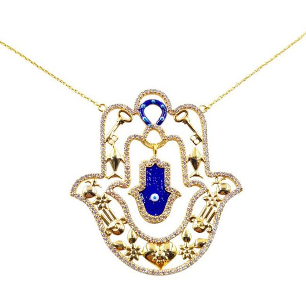 14k Gold over Sterling Silver Evil Eye Large Hamsa Necklace