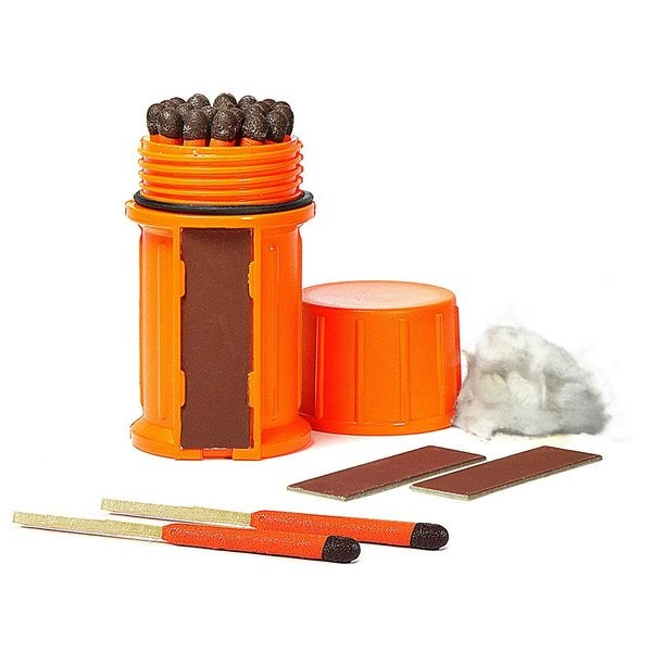 UCO Storm-proof Orange Waterproof Case Match Kit with 25 Storm-proof Matches and 3 Strikers