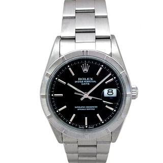 Pre-owned Rolex Men's Stainless Steel Black Dial Date Watch