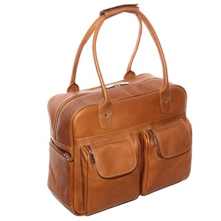 Piel Leather 15-inch Multi-Pocket Satchel Duffel Bag
