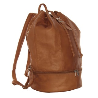 Piel Leather Navy Drawstring Backpack