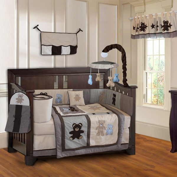 BabyFad Teddy Bear 10-piece Boys' Baby Crib Bedding Set with Musical Mobile