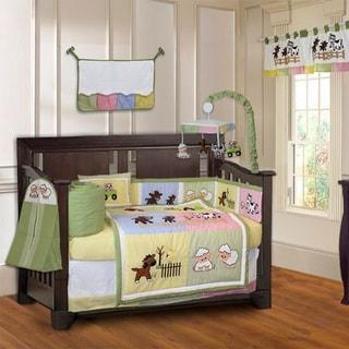 BabyFad Barnyard 10-piece Farm Baby Crib Bedding Set with Musical Mobile